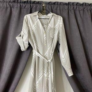 Silk 3 Button Down Shirt Dress w/Matching Belt